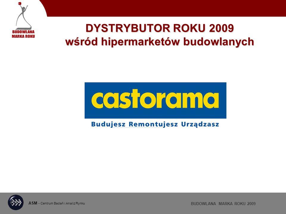 ASM - Centrum Badań i Analiz Rynku BUDOWLANA MARKA ROKU 2009 DYSTRYBUTOR ROKU 2009 wśród hipermarketów budowlanych