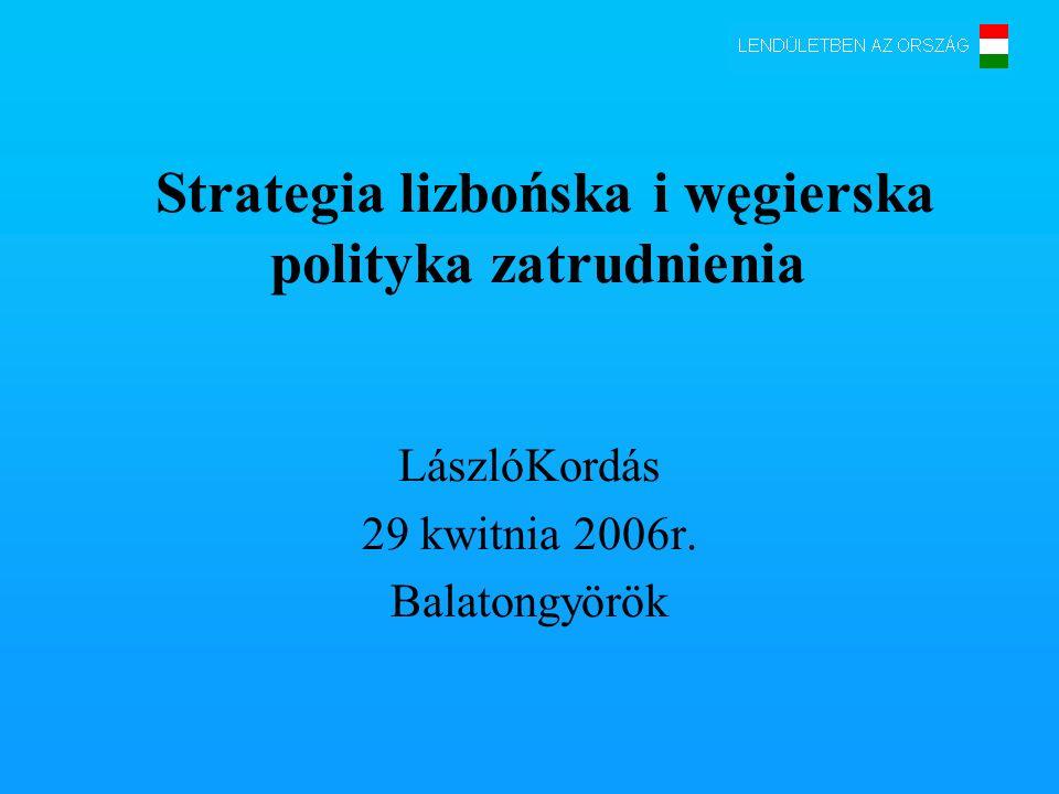 Strategia lizbońska i węgierska polityka zatrudnienia LászlóKordás 29 kwitnia 2006r. Balatongyörök