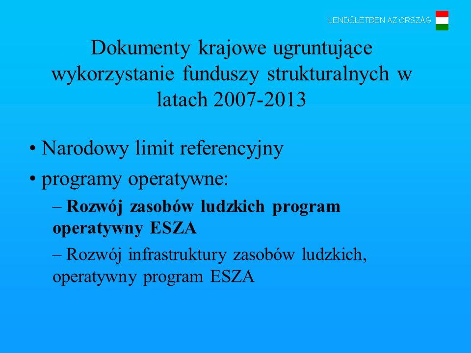 Dokumenty krajowe ugruntujące wykorzystanie funduszy strukturalnych w latach 2007-2013 Narodowy limit referencyjny programy operatywne: – Rozwój zasob