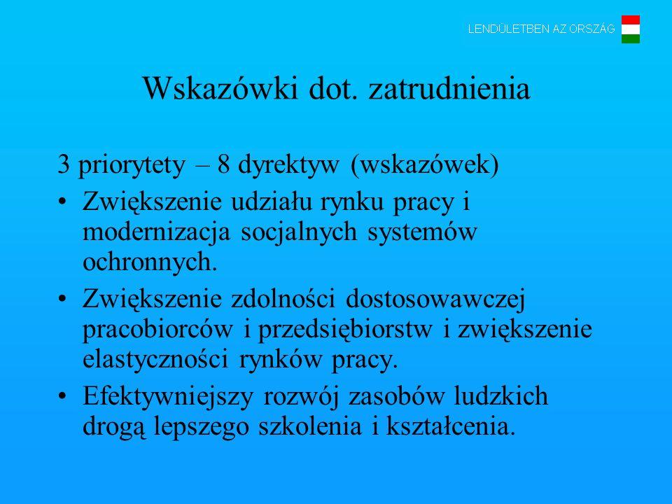 Wskazówki dot. zatrudnienia 3 priorytety – 8 dyrektyw (wskazówek) Zwiększenie udziału rynku pracy i modernizacja socjalnych systemów ochronnych. Zwięk