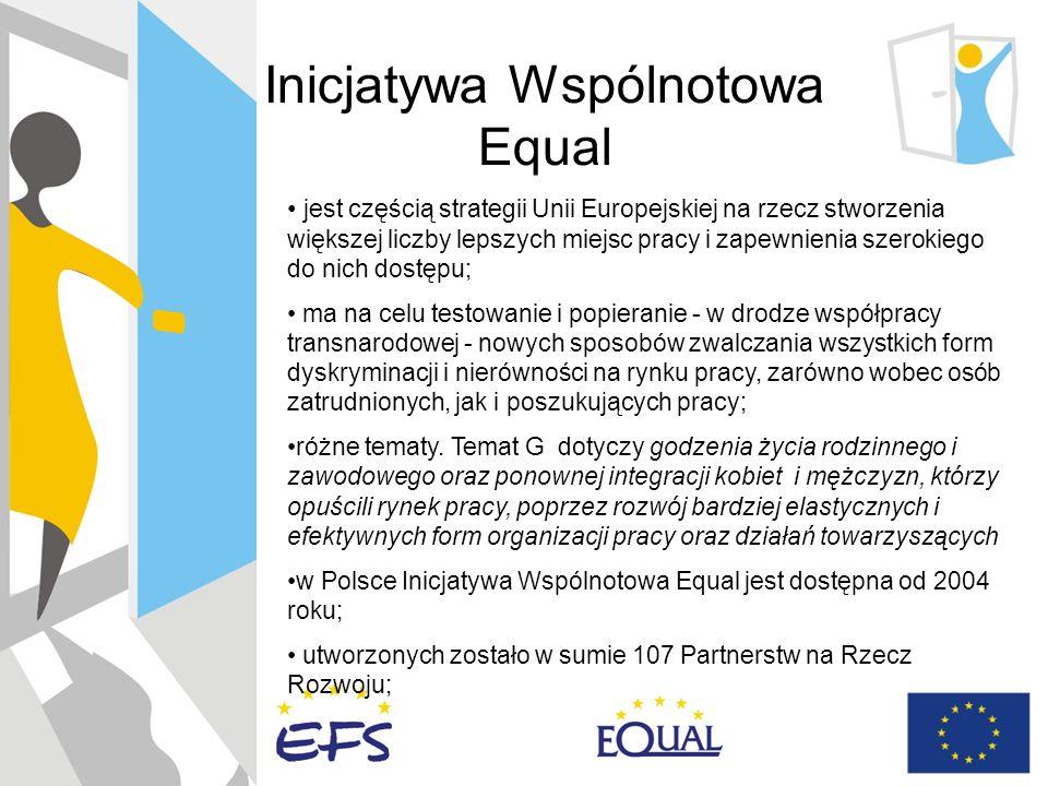 Inicjatywa Wspólnotowa Equal jest częścią strategii Unii Europejskiej na rzecz stworzenia większej liczby lepszych miejsc pracy i zapewnienia szerokiego do nich dostępu; ma na celu testowanie i popieranie - w drodze współpracy transnarodowej - nowych sposobów zwalczania wszystkich form dyskryminacji i nierówności na rynku pracy, zarówno wobec osób zatrudnionych, jak i poszukujących pracy; różne tematy.