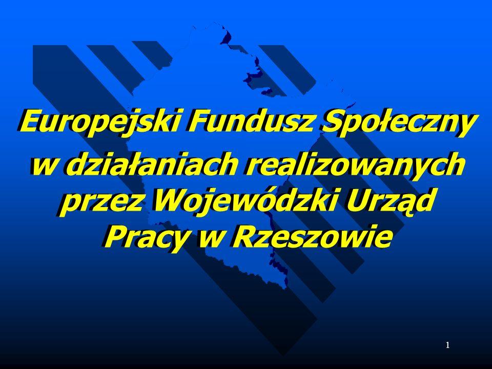 1 Europejski Fundusz Społeczny w działaniach realizowanych przez Wojewódzki Urząd Pracy w Rzeszowie Europejski Fundusz Społeczny w działaniach realizowanych przez Wojewódzki Urząd Pracy w Rzeszowie