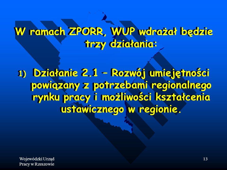 Wojewódzki Urząd Pracy w Rzeszowie 13 W ramach ZPORR, WUP wdrażał będzie trzy działania: 1) 1) Działanie 2.1 – Rozwój umiejętności powiązany z potrzebami regionalnego rynku pracy i możliwości kształcenia ustawicznego w regionie.
