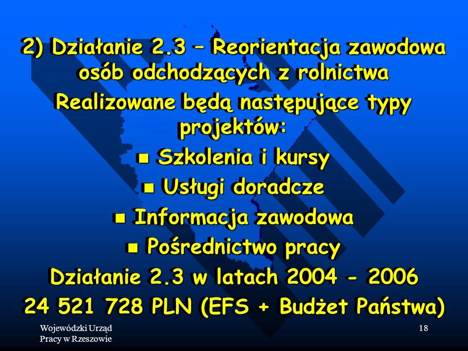 Wojewódzki Urząd Pracy w Rzeszowie 18 2) Działanie 2.3 – Reorientacja zawodowa osób odchodzących z rolnictwa Realizowane będą następujące typy projektów: Szkolenia i kursy Szkolenia i kursy Usługi doradcze Usługi doradcze Informacja zawodowa Informacja zawodowa Pośrednictwo pracy Pośrednictwo pracy Działanie 2.3 w latach 2004 - 2006 24 521 728 PLN (EFS + Budżet Państwa) 2) Działanie 2.3 – Reorientacja zawodowa osób odchodzących z rolnictwa Realizowane będą następujące typy projektów: Szkolenia i kursy Szkolenia i kursy Usługi doradcze Usługi doradcze Informacja zawodowa Informacja zawodowa Pośrednictwo pracy Pośrednictwo pracy Działanie 2.3 w latach 2004 - 2006 24 521 728 PLN (EFS + Budżet Państwa)