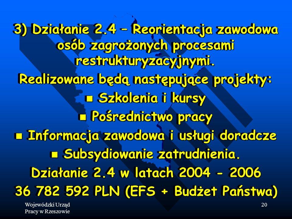 Wojewódzki Urząd Pracy w Rzeszowie 20 3) Działanie 2.4 – Reorientacja zawodowa osób zagrożonych procesami restrukturyzacyjnymi.