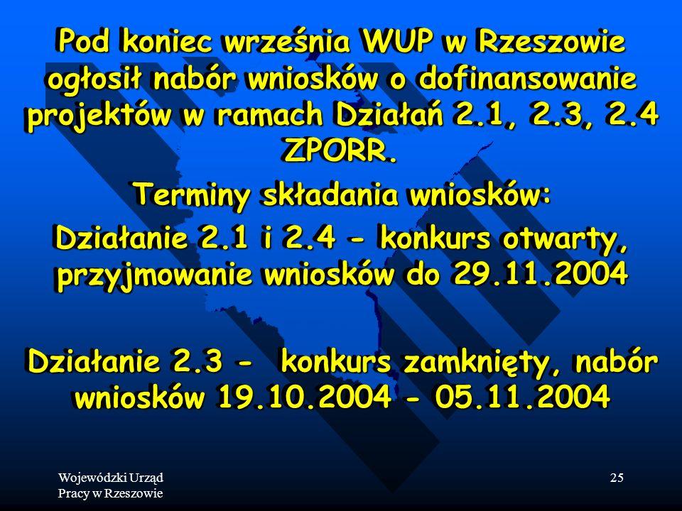 Wojewódzki Urząd Pracy w Rzeszowie 25 Pod koniec września WUP w Rzeszowie ogłosił nabór wniosków o dofinansowanie projektów w ramach Działań 2.1, 2.3, 2.4 ZPORR.
