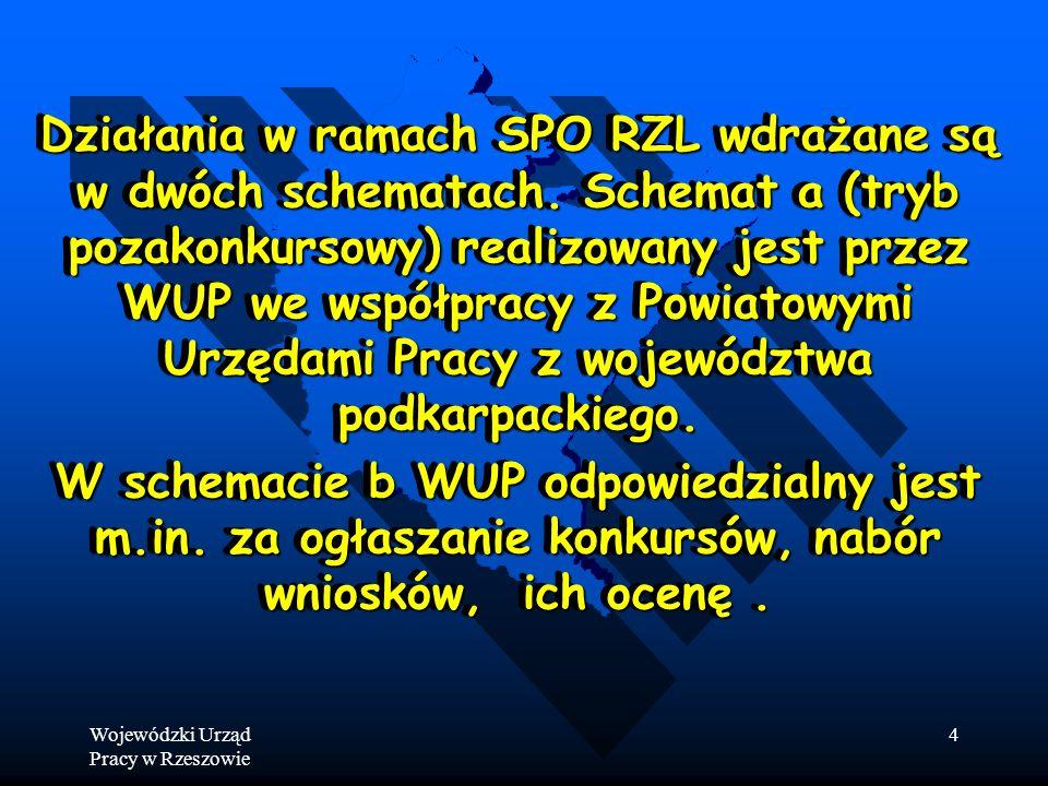 Wojewódzki Urząd Pracy w Rzeszowie 4 Działania w ramach SPO RZL wdrażane są w dwóch schematach.