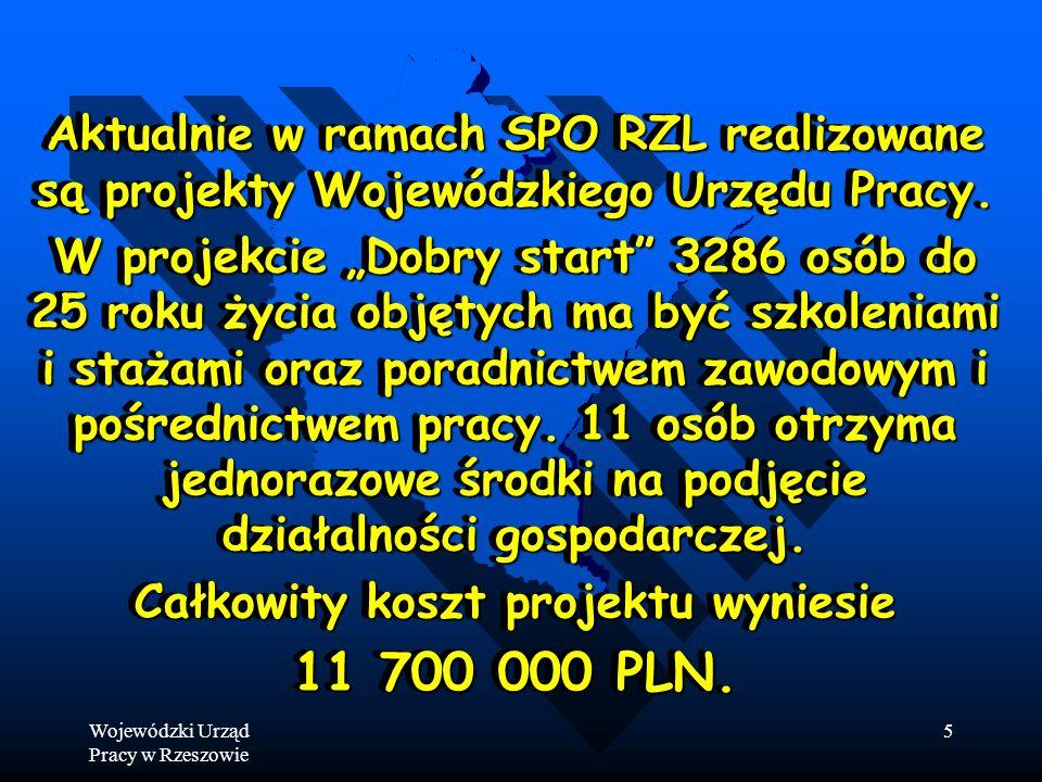 Wojewódzki Urząd Pracy w Rzeszowie 5 Aktualnie w ramach SPO RZL realizowane są projekty Wojewódzkiego Urzędu Pracy.