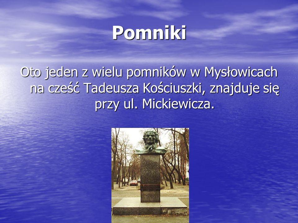 Pomniki Oto jeden z wielu pomników w Mysłowicach na cześć Tadeusza Kościuszki, znajduje się przy ul. Mickiewicza.