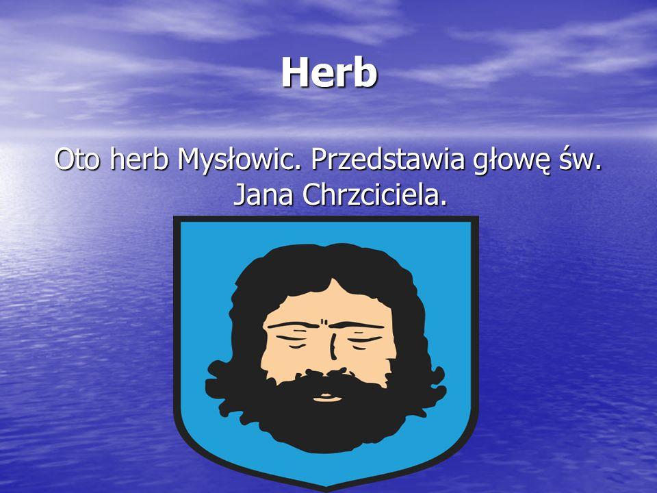 Herb Oto herb Mysłowic. Przedstawia głowę św. Jana Chrzciciela.