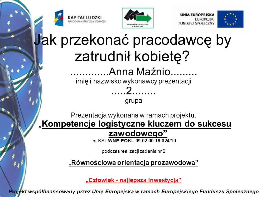 1 Jak przekonać pracodawcę by zatrudnił kobietę?.............Anna Maźnio......... imię i nazwisko wykonawcy prezentacji.....2........ grupa Prezentacj