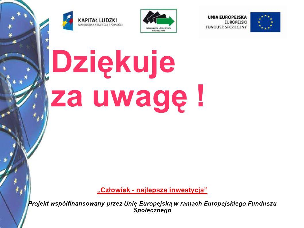 11 Człowiek - najlepsza inwestycja Projekt współfinansowany przez Unię Europejską w ramach Europejskiego Funduszu Społecznego Dziękuje za uwagę !