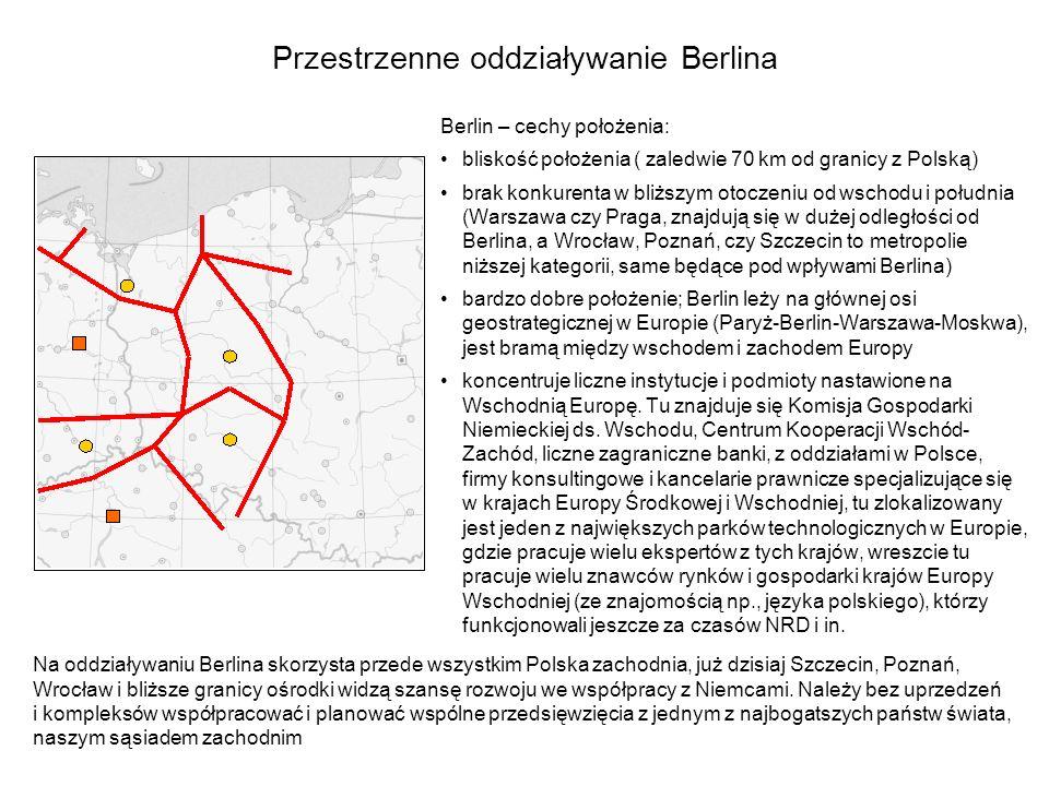 Przestrzenne oddziaływanie Berlina Berlin – cechy położenia: bliskość położenia ( zaledwie 70 km od granicy z Polską) brak konkurenta w bliższym otocz