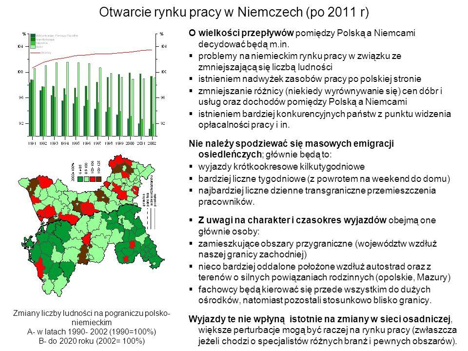 Otwarcie rynku pracy w Niemczech (po 2011 r) O wielkości przepływów pomiędzy Polską a Niemcami decydować będą m.in. problemy na niemieckim rynku pracy