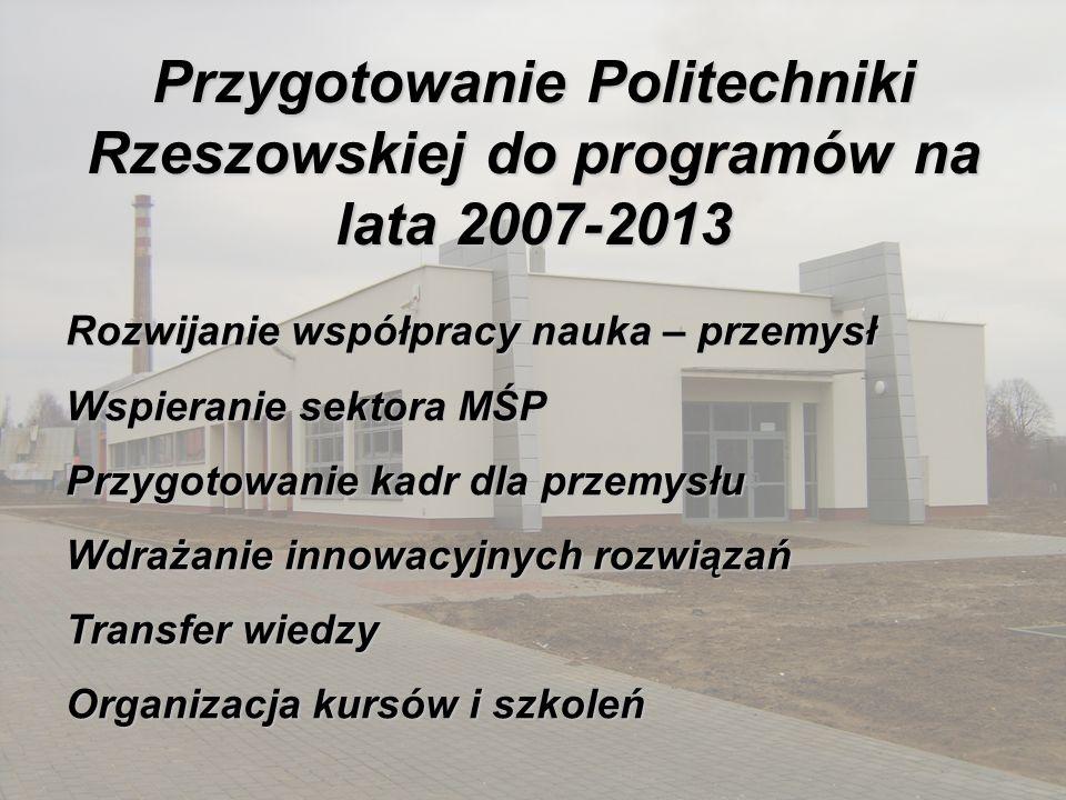 Przygotowanie Politechniki Rzeszowskiej do programów na lata 2007-2013 Rozwijanie współpracy nauka – przemysł Wspieranie sektora MŚP Przygotowanie kad