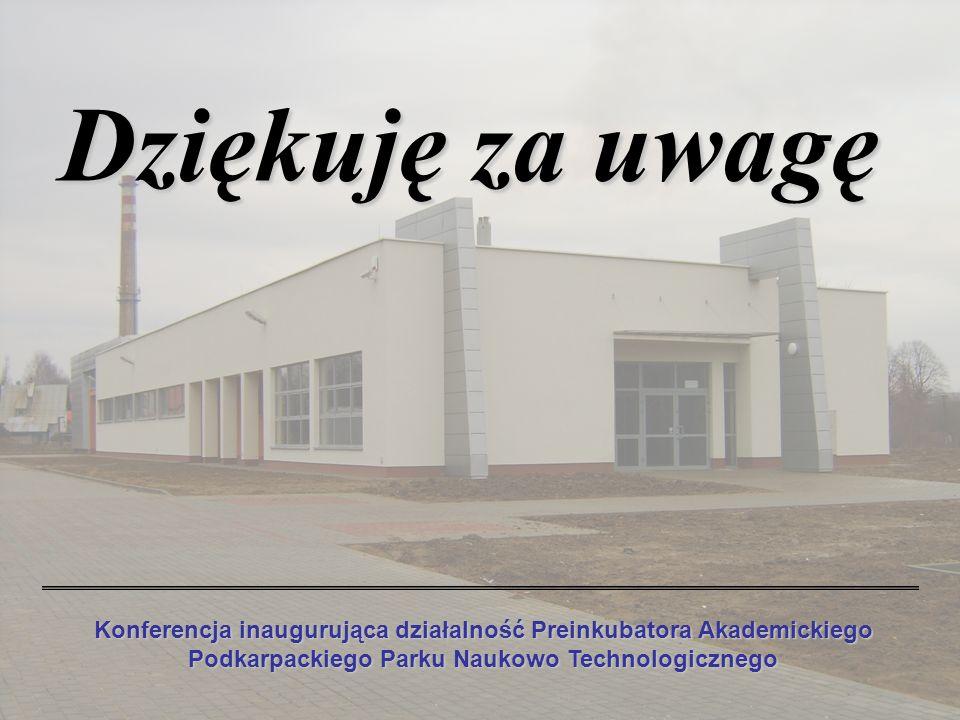 Dziękuję za uwagę Konferencja inaugurująca działalność Preinkubatora Akademickiego Podkarpackiego Parku Naukowo Technologicznego