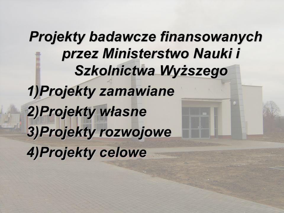 Projekty badawcze finansowanych przez Ministerstwo Nauki i Szkolnictwa Wyższego 1)Projekty zamawiane 2)Projekty własne 3)Projekty rozwojowe 4)Projekty