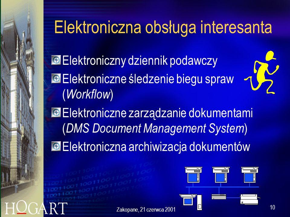 Zakopane, 21 czerwca 2001 10 Elektroniczna obsługa interesanta Elektroniczny dziennik podawczy Elektroniczne śledzenie biegu spraw ( Workflow ) Elektroniczne zarządzanie dokumentami ( DMS Document Management System ) Elektroniczna archiwizacja dokumentów