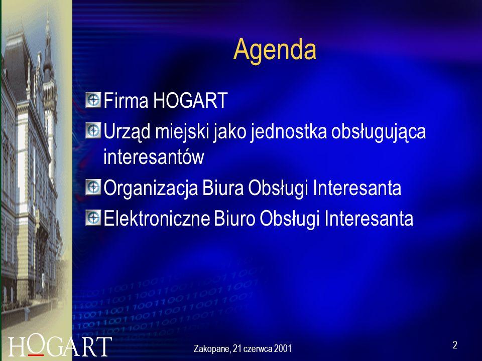 2 Agenda Firma HOGART Urząd miejski jako jednostka obsługująca interesantów Organizacja Biura Obsługi Interesanta Elektroniczne Biuro Obsługi Interesanta