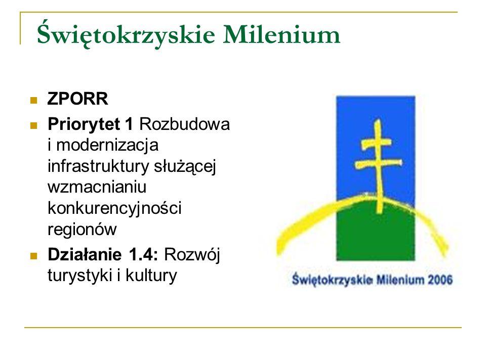 Świętokrzyskie Milenium ZPORR Priorytet 1 Rozbudowa i modernizacja infrastruktury służącej wzmacnianiu konkurencyjności regionów Działanie 1.4: Rozwój turystyki i kultury