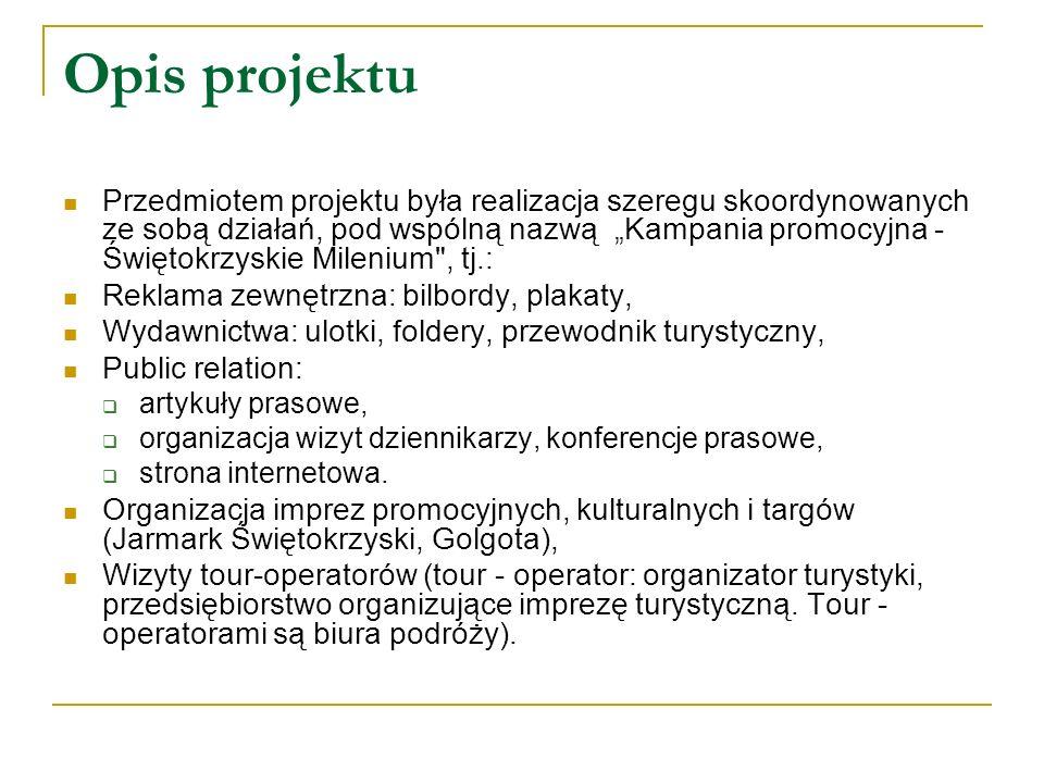 Opis projektu Przedmiotem projektu była realizacja szeregu skoordynowanych ze sobą działań, pod wspólną nazwą Kampania promocyjna - Świętokrzyskie Milenium , tj.: Reklama zewnętrzna: bilbordy, plakaty, Wydawnictwa: ulotki, foldery, przewodnik turystyczny, Public relation: artykuły prasowe, organizacja wizyt dziennikarzy, konferencje prasowe, strona internetowa.
