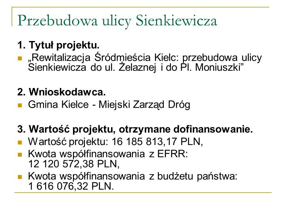 Przebudowa ulicy Sienkiewicza 1. Tytuł projektu. Rewitalizacja Śródmieścia Kielc: przebudowa ulicy Sienkiewicza do ul. Żelaznej i do Pl. Moniuszki 2.