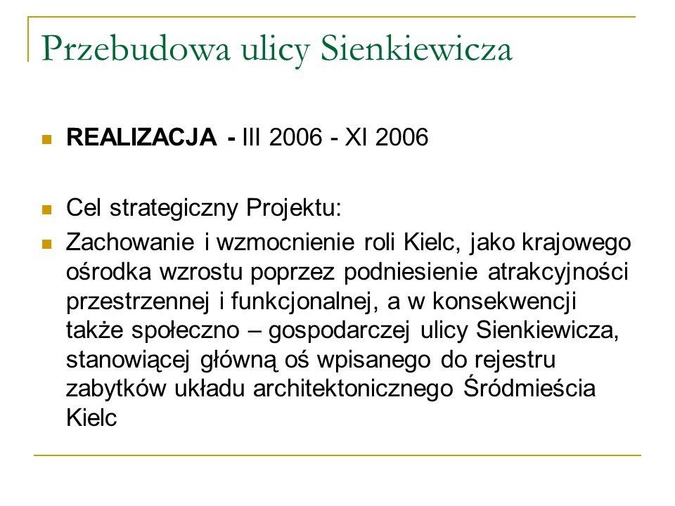 Przebudowa ulicy Sienkiewicza REALIZACJA - III 2006 - XI 2006 Cel strategiczny Projektu: Zachowanie i wzmocnienie roli Kielc, jako krajowego ośrodka wzrostu poprzez podniesienie atrakcyjności przestrzennej i funkcjonalnej, a w konsekwencji także społeczno – gospodarczej ulicy Sienkiewicza, stanowiącej główną oś wpisanego do rejestru zabytków układu architektonicznego Śródmieścia Kielc