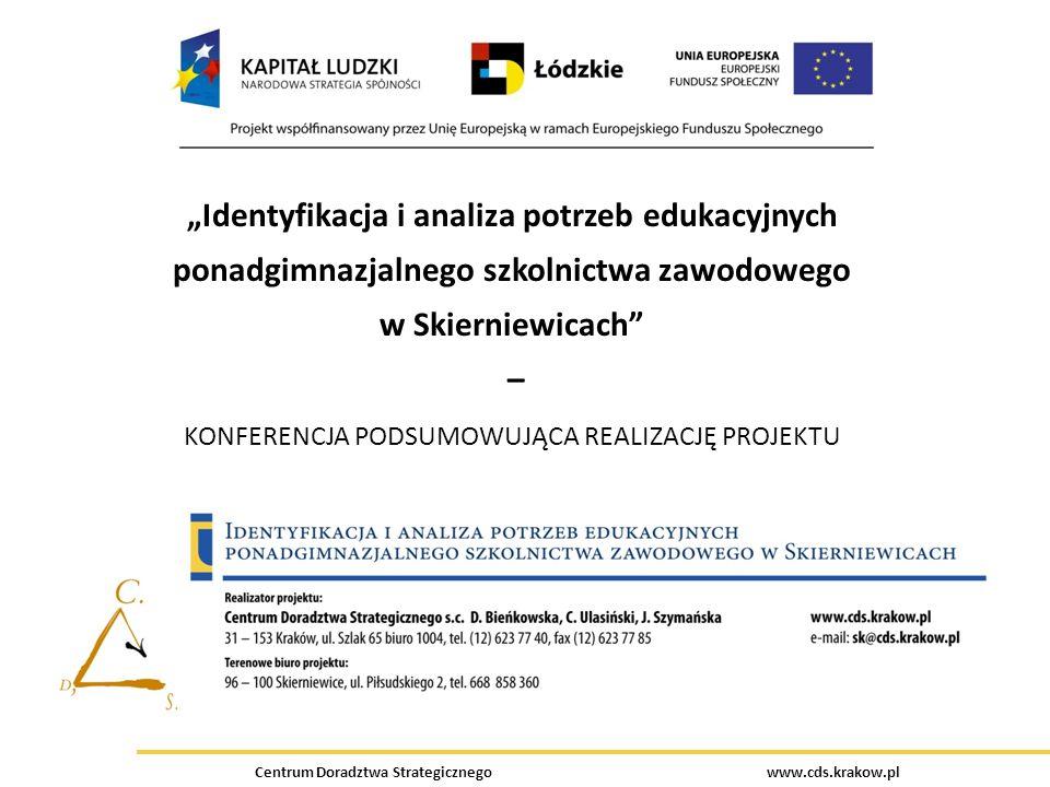 Centrum Doradztwa Strategicznego www.cds.krakow.pl Identyfikacja i analiza potrzeb edukacyjnych ponadgimnazjalnego szkolnictwa zawodowego w Skierniewi