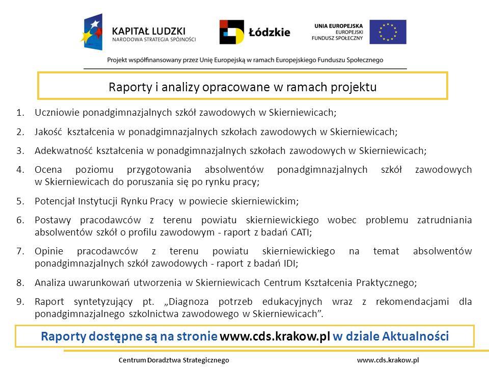 Centrum Doradztwa Strategicznego www.cds.krakow.pl Raporty i analizy opracowane w ramach projektu 1.Uczniowie ponadgimnazjalnych szkół zawodowych w Sk