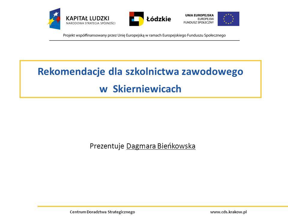Centrum Doradztwa Strategicznego www.cds.krakow.pl Rekomendacje dla szkolnictwa zawodowego w Skierniewicach Prezentuje Dagmara Bieńkowska