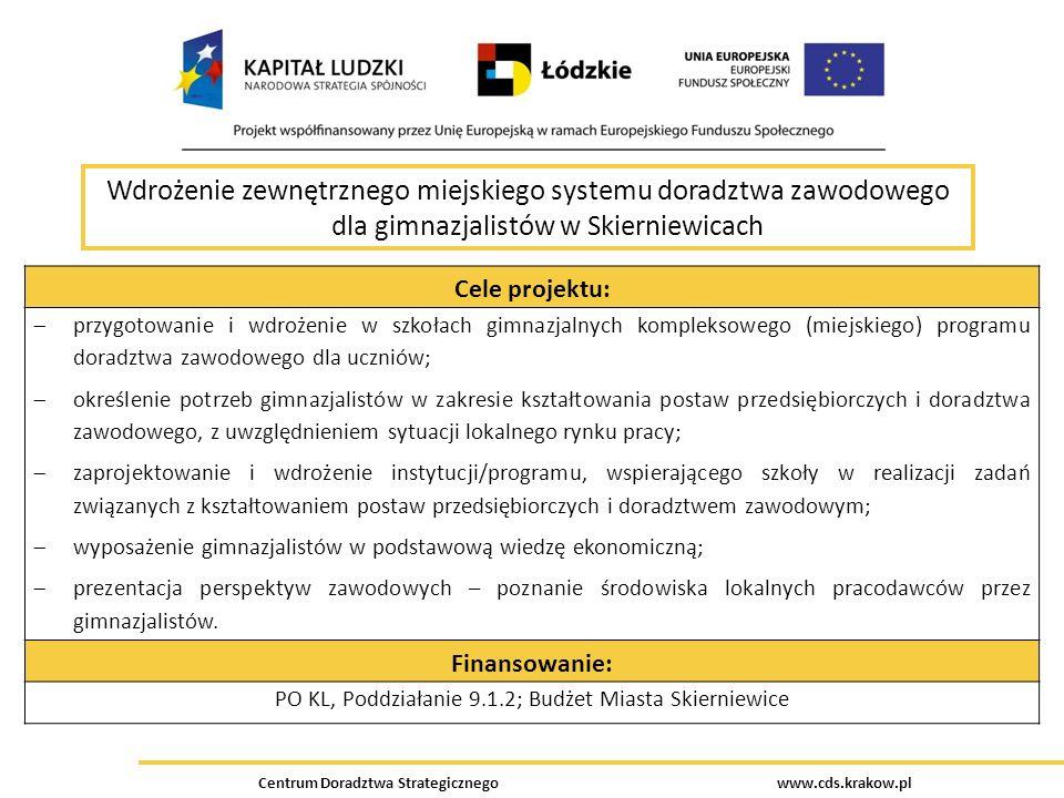 Centrum Doradztwa Strategicznego www.cds.krakow.pl Wdrożenie zewnętrznego miejskiego systemu doradztwa zawodowego dla gimnazjalistów w Skierniewicach