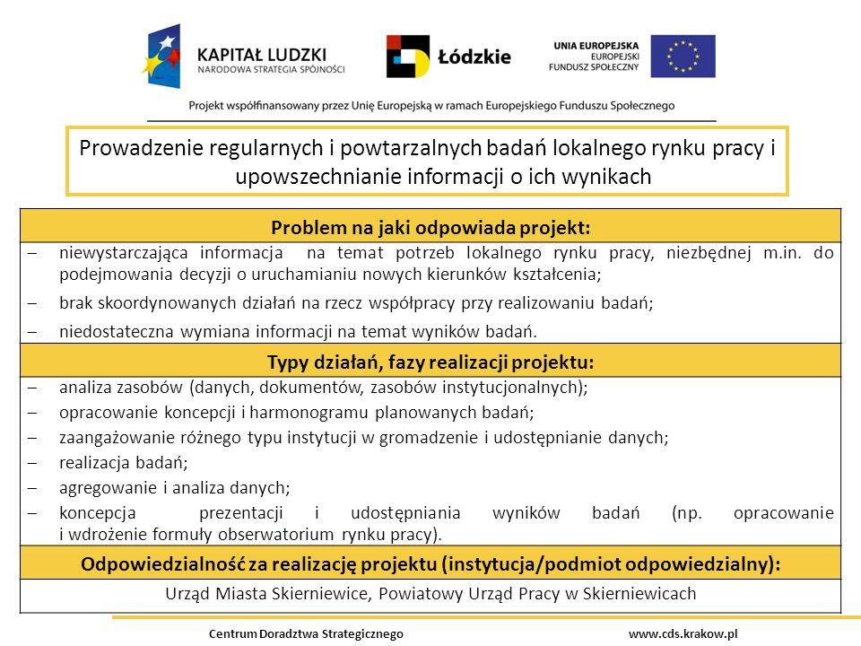 Centrum Doradztwa Strategicznego www.cds.krakow.pl Prowadzenie regularnych i powtarzalnych badań lokalnego rynku pracy i upowszechnianie informacji o
