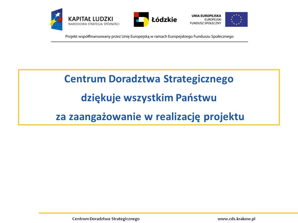 Centrum Doradztwa Strategicznego www.cds.krakow.pl Centrum Doradztwa Strategicznego dziękuje wszystkim Państwu za zaangażowanie w realizację projektu