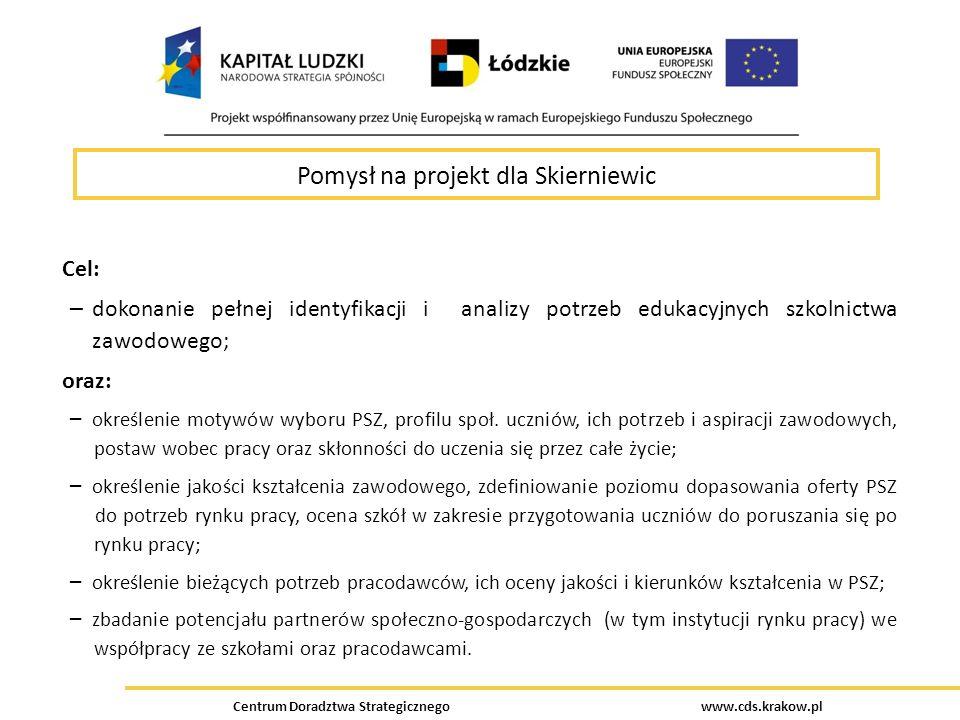 Centrum Doradztwa Strategicznego www.cds.krakow.pl Pomysł na projekt dla Skierniewic Cel: – dokonanie pełnej identyfikacji i analizy potrzeb edukacyjn