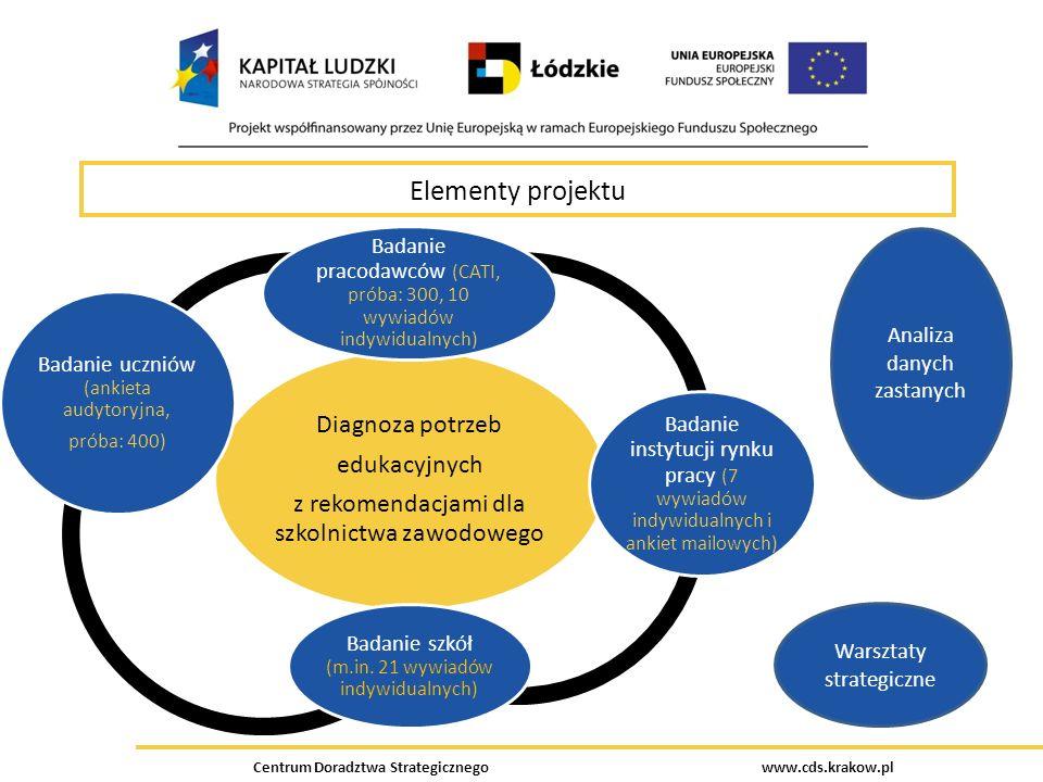 Centrum Doradztwa Strategicznego www.cds.krakow.pl Elementy projektu Diagnoza potrzeb edukacyjnych z rekomendacjami dla szkolnictwa zawodowego Badanie