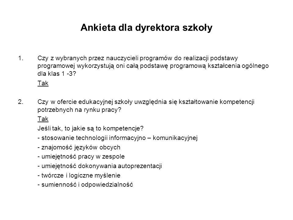 Ankieta dla dyrektora szkoły 1.Czy z wybranych przez nauczycieli programów do realizacji podstawy programowej wykorzystują oni całą podstawę programow