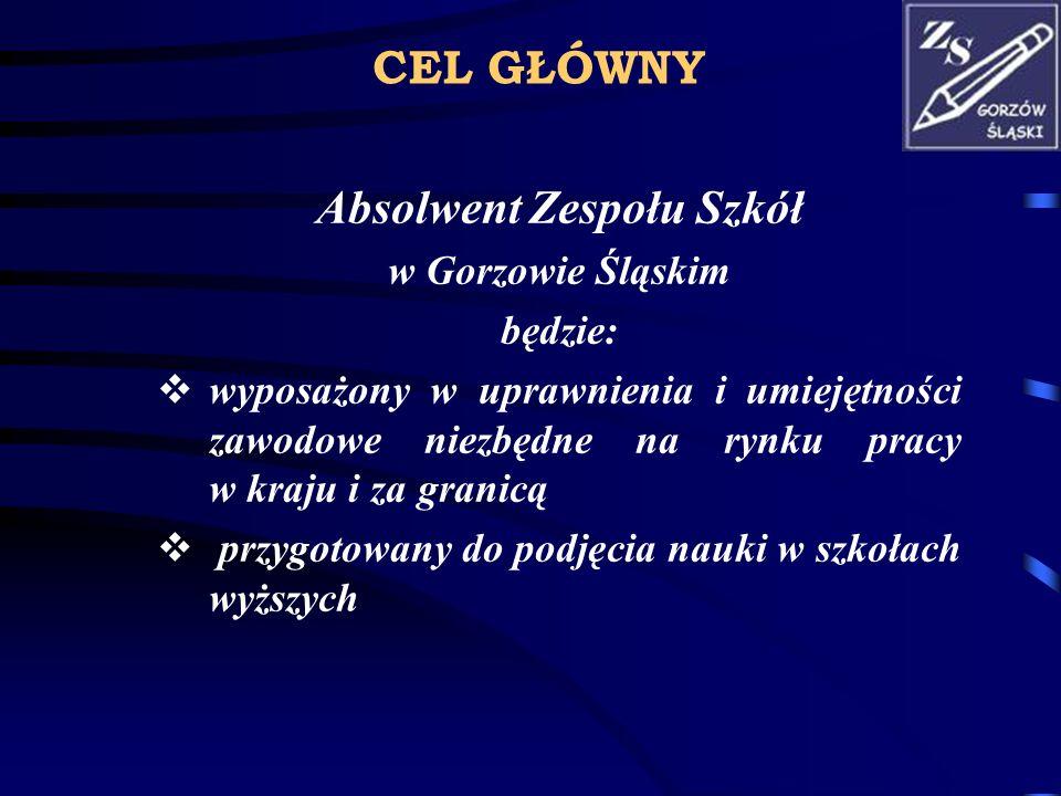 CEL GŁÓWNY Absolwent Zespołu Szkół w Gorzowie Śląskim będzie: wyposażony w uprawnienia i umiejętności zawodowe niezbędne na rynku pracy w kraju i za g
