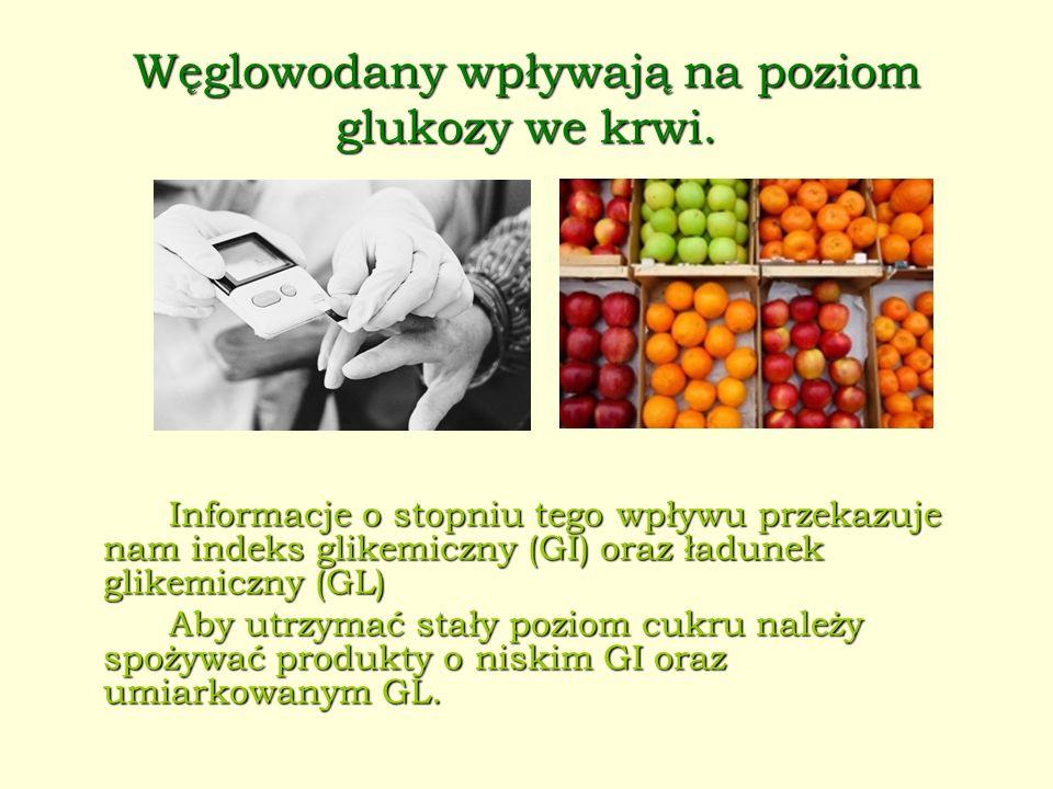 Węglowodany wpływają na poziom glukozy we krwi. Informacje o stopniu tego wpływu przekazuje nam indeks glikemiczny (GI) oraz ładunek glikemiczny (GL)