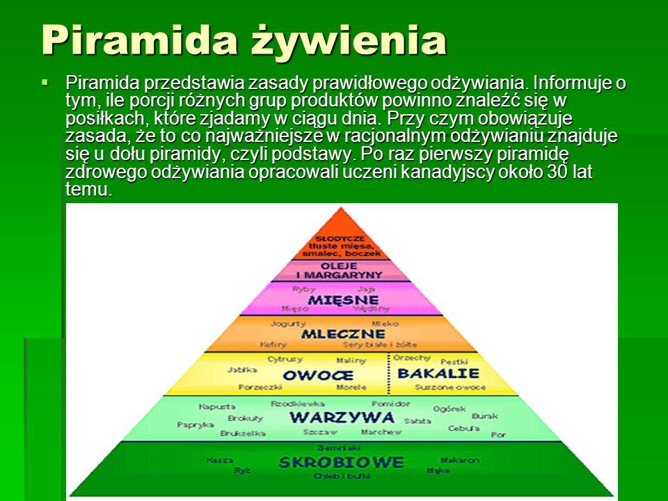 Piramida żywienia Piramida przedstawia zasady prawidłowego odżywiania. Informuje o tym, ile porcji różnych grup produktów powinno znaleźć się w posiłk