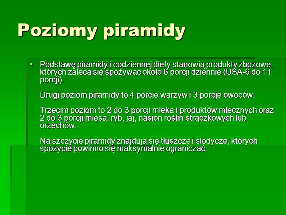 Poziomy piramidy Podstawę piramidy i codziennej diety stanowią produkty zbożowe, których zaleca się spożywać około 6 porcji dziennie (USA-6 do 11 porc