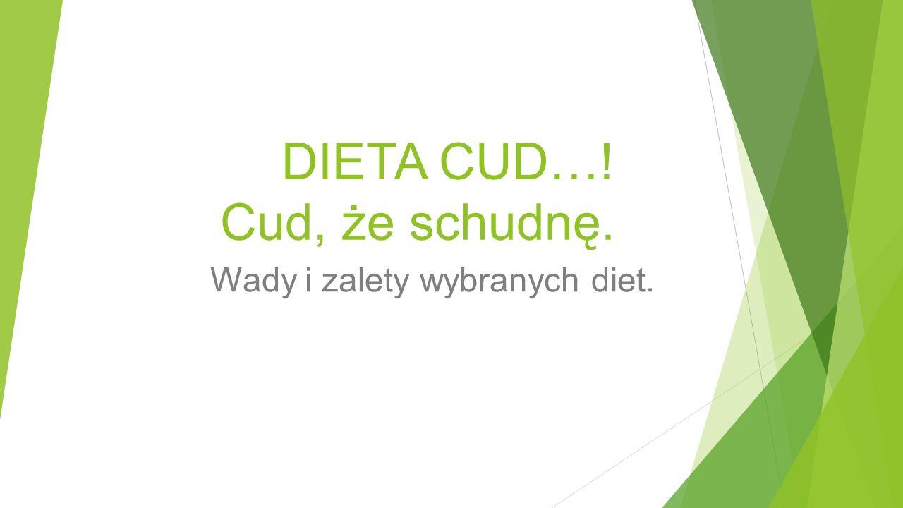 DIETA CUD…! Cud, że schudnę. Wady i zalety wybranych diet.