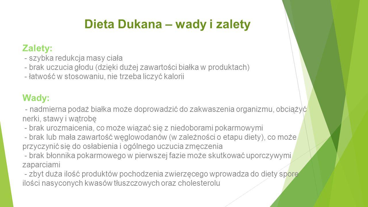 Dieta Dukana – wady i zalety Zalety: - szybka redukcja masy ciała - brak uczucia głodu (dzięki dużej zawartości białka w produktach) - łatwość w stoso