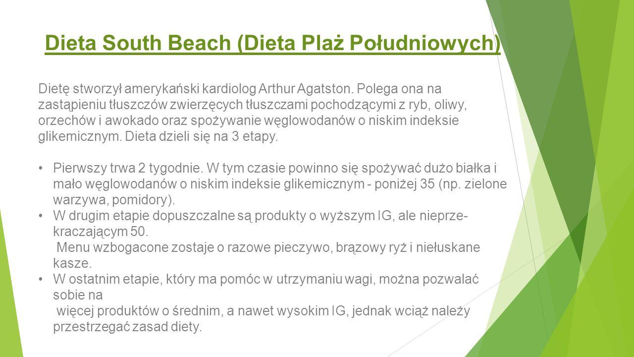 Dieta South Beach – wady i zalety Zalety: - dieta obniża poziom cholesterolu we krwi, zmniejsza ryzyko chorób układu krążenia, a także cukrzycy - pomaga szybko schudnąć bez efektu jo-jo - nie należy do diet skrajnie restrykcyjnych, zatem jej przestrzeganie jest stosunkowo łatwe i bezpieczne - nie powoduje uczucia głodu Wady: - początkowo przyczynia się do szybkiego spadku masy ciała, co spowodowane jest odwodnieniem organizmu.