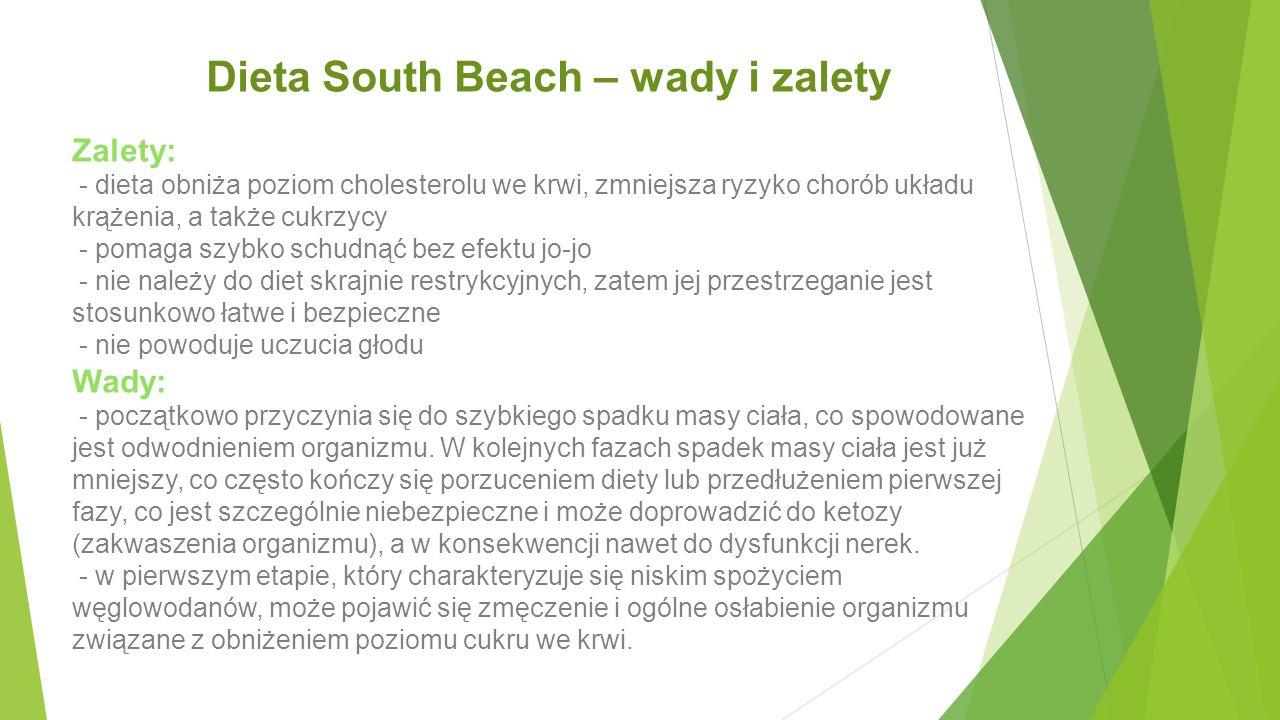 Dieta South Beach – wady i zalety Zalety: - dieta obniża poziom cholesterolu we krwi, zmniejsza ryzyko chorób układu krążenia, a także cukrzycy - poma