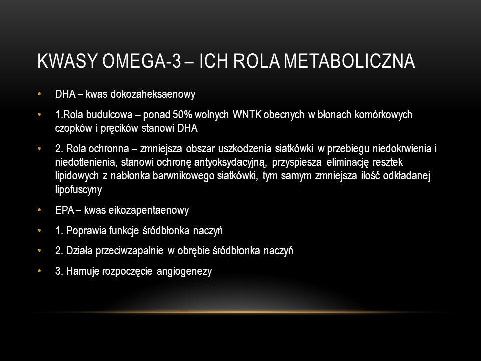 KWASY OMEGA-3 – ICH ROLA METABOLICZNA DHA – kwas dokozaheksaenowy 1.Rola budulcowa – ponad 50% wolnych WNTK obecnych w błonach komórkowych czopków i p