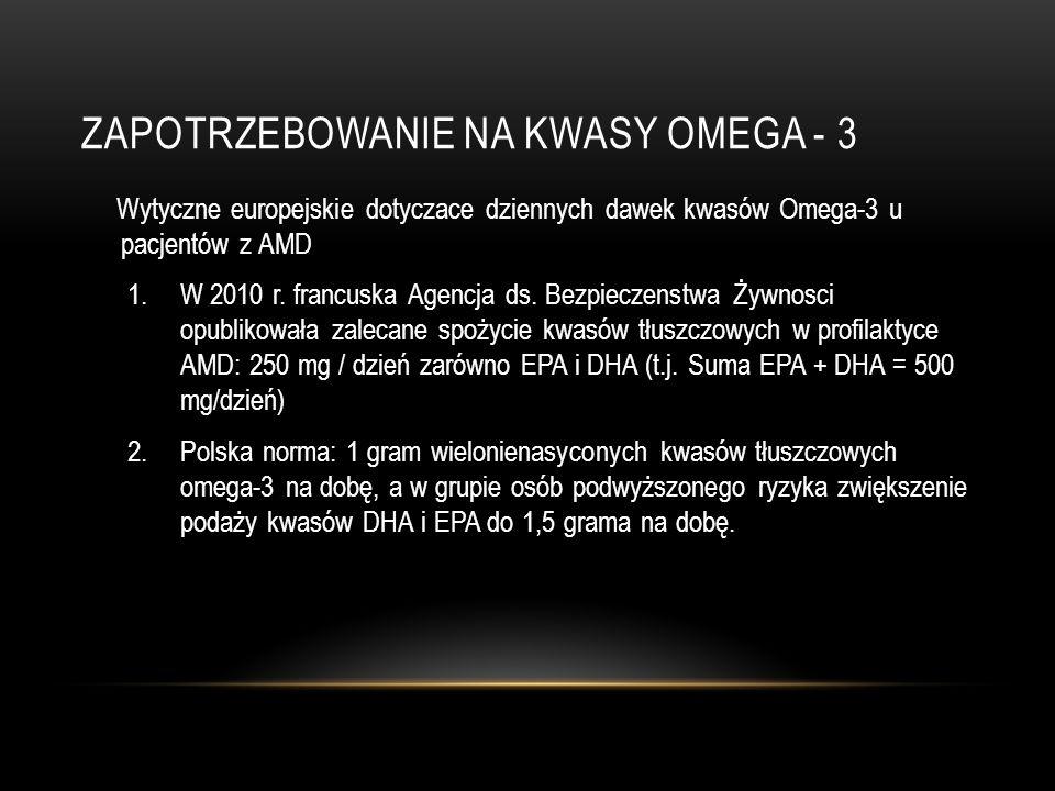 ZAPOTRZEBOWANIE NA KWASY OMEGA - 3 Wytyczne europejskie dotyczace dziennych dawek kwasów Omega-3 u pacjentów z AMD 1.W 2010 r. francuska Agencja ds. B