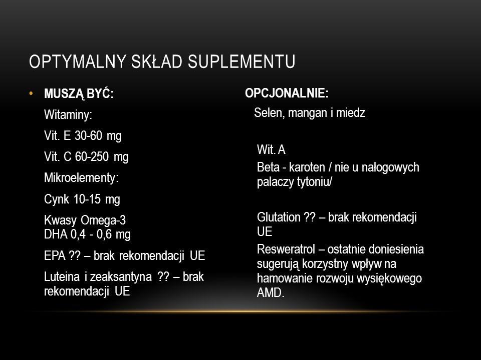 OPTYMALNY SKŁAD SUPLEMENTU MUSZĄ BYĆ: Witaminy: Vit. E 30-60 mg Vit. C 60-250 mg Mikroelementy: Cynk 10-15 mg Kwasy Omega-3 DHA 0,4 - 0,6 mg EPA ?? –