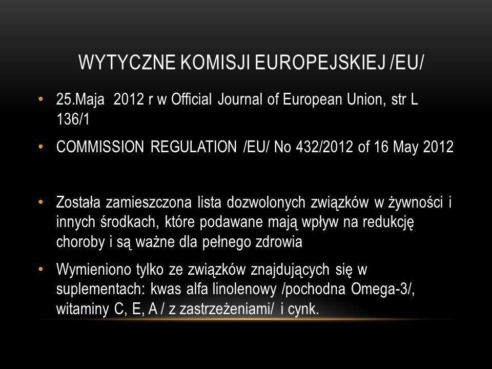 WYTYCZNE KOMISJI EUROPEJSKIEJ /EU/ 25.Maja 2012 r w Official Journal of European Union, str L 136/1 COMMISSION REGULATION /EU/ No 432/2012 of 16 May 2