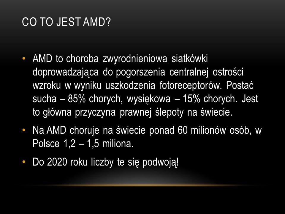 CO TO JEST AMD? AMD to choroba zwyrodnieniowa siatkówki doprowadzająca do pogorszenia centralnej ostrości wzroku w wyniku uszkodzenia fotoreceptorów.