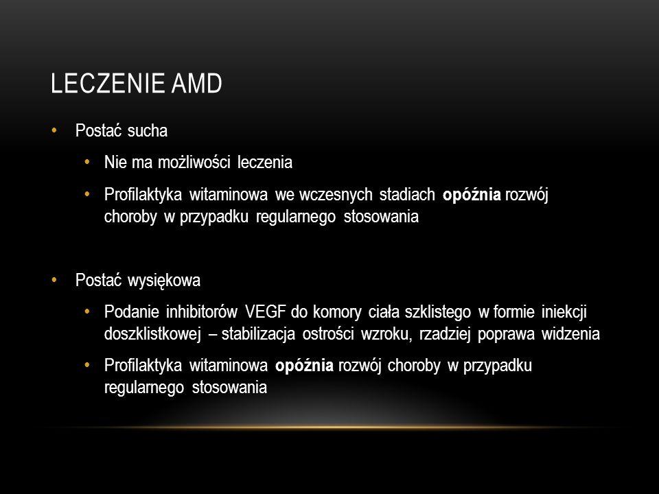 LECZENIE AMD Postać sucha Nie ma możliwości leczenia Profilaktyka witaminowa we wczesnych stadiach opóźnia rozwój choroby w przypadku regularnego stos